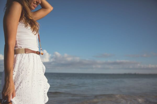 girl in white clothes on st pete beach