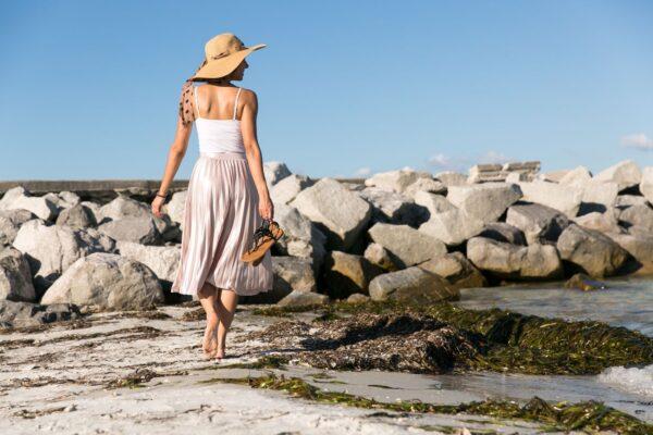 woman walking on st pete beach