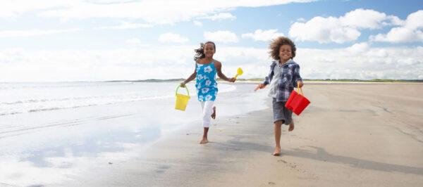 kids running on st pete beach